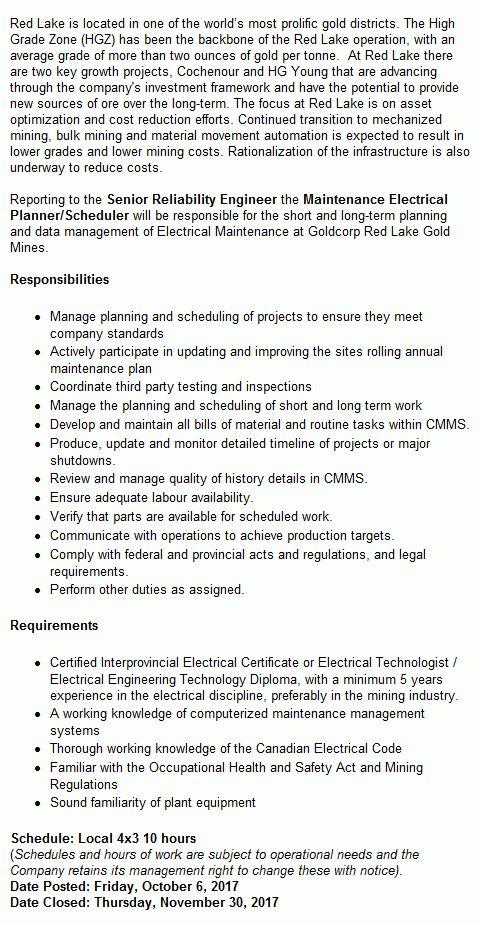 Maintenance Electrical Planner/Scheduler Mining Job in Balmertown ...