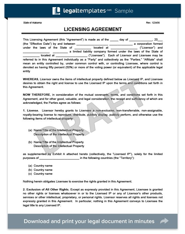 Create a Free Licensing Agreement - Download & Print | Legal Templates