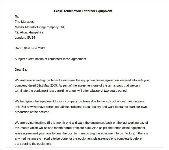 questions. lease termination letter for equipment template example ...
