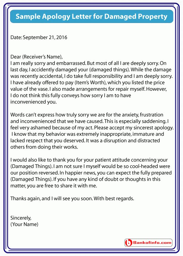 Sample Apology Letter for Damaged Property