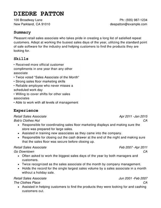Retail Chronological Resumes - Resume Help