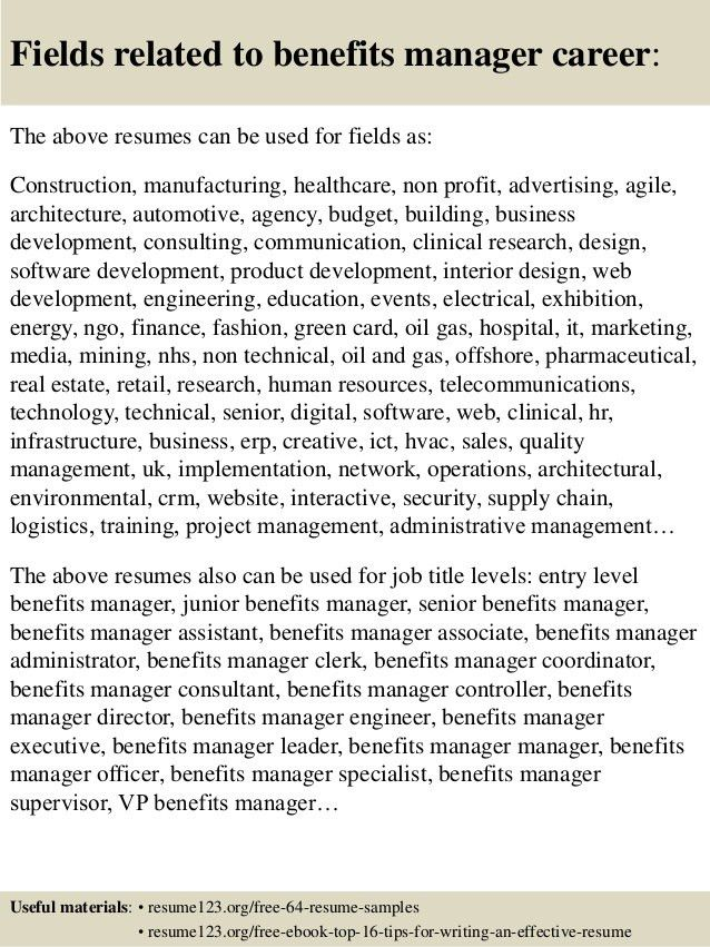 Top 8 benefits manager resume samples