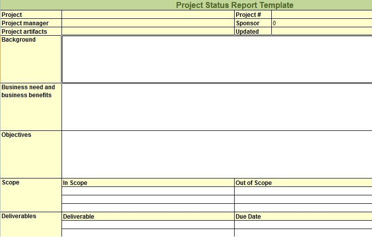 Weekly Project Status Report Template in Excel - Microsoft Excel ...