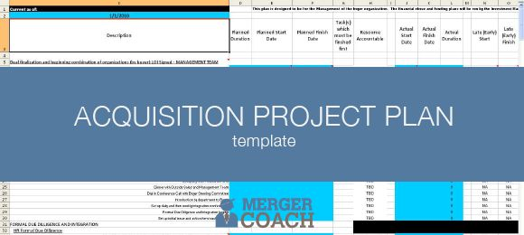 Acquisition Project Plan Template - Excel & Microsoft Project ...