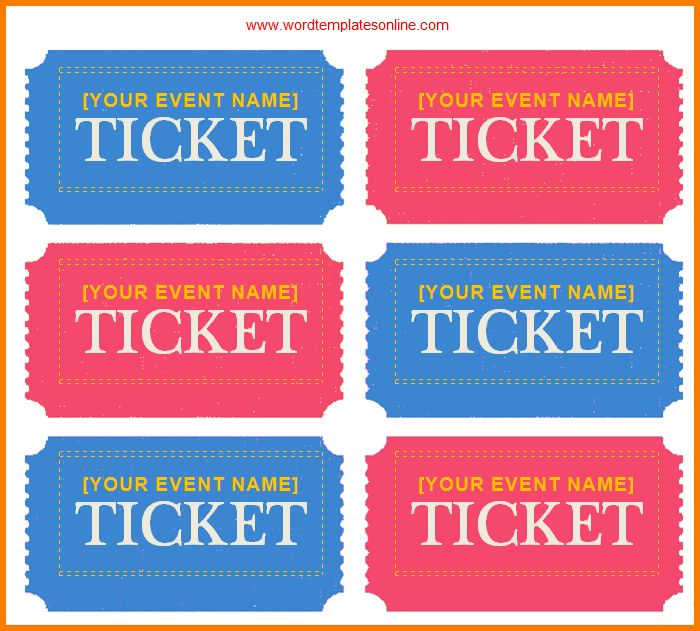 5 word ticket template | Receipt Templates
