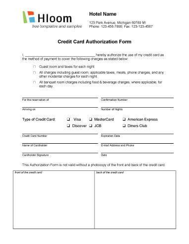 Credit Card Authorization Forms • Hloom.com
