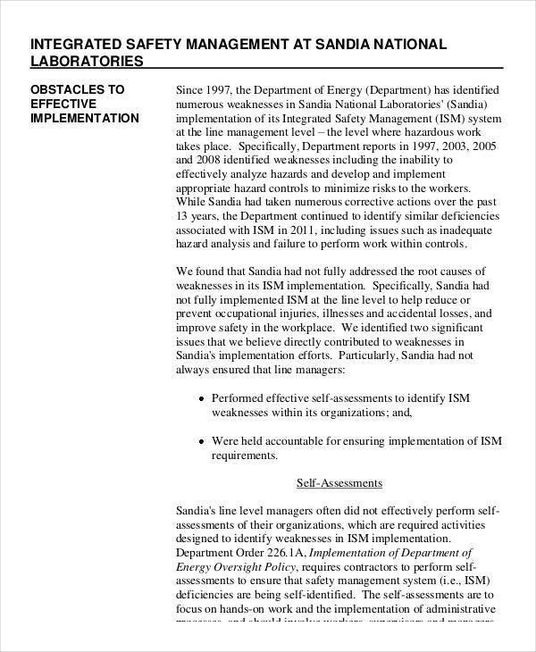 Safety Audit Report Templates- 7+ Free PDF Format Download!   Free ...