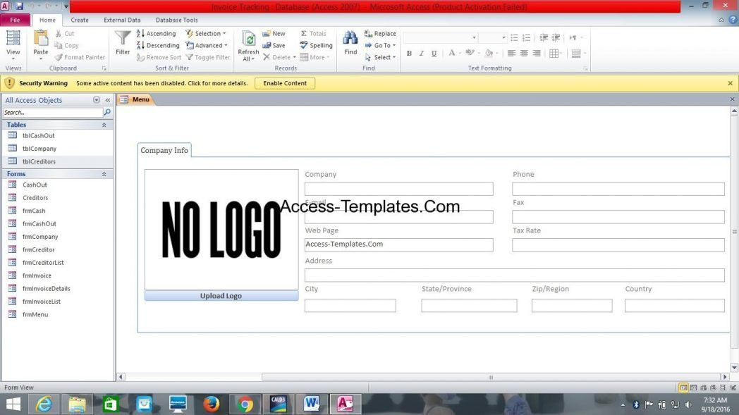 Download Ms Access Database Templates Free Rabitah Net Invoice ...