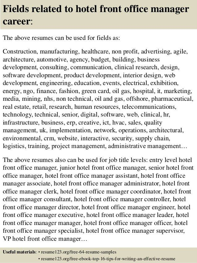 Top 8 hotel front office manager resume samples