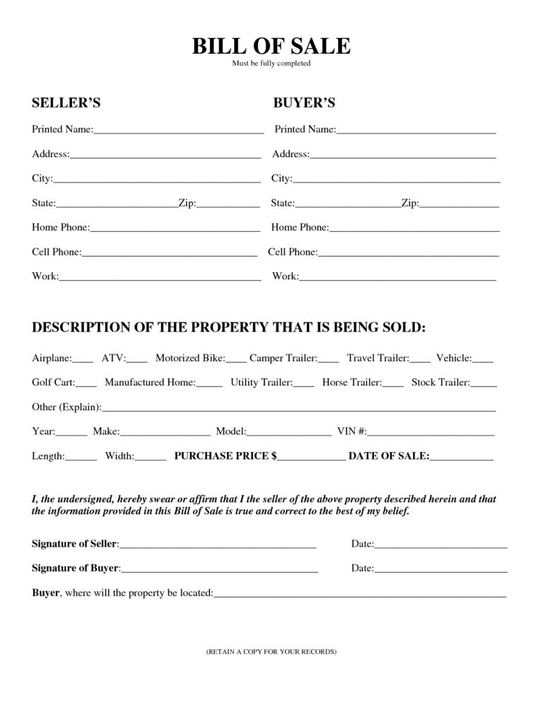 Printable Vehicle Or Equipment Bill Of Sale Form And Template ...