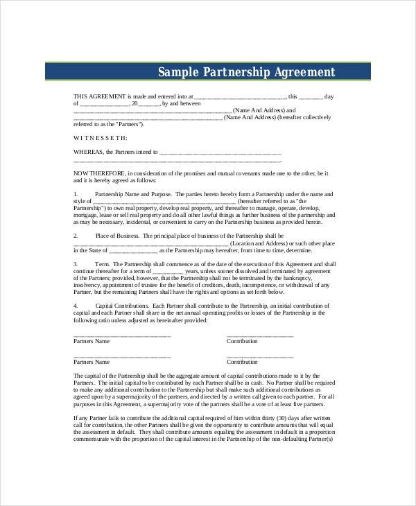 Business Partnership Agreement - 8+ Free PDF, Word Documents ...