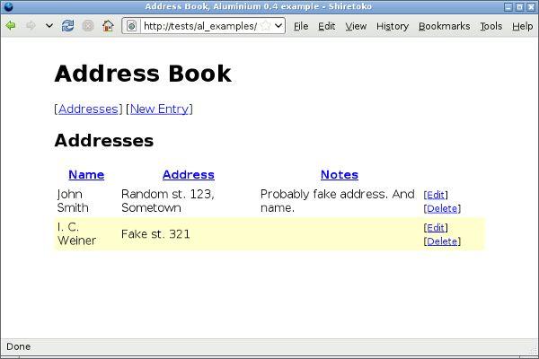 Aluminium - Examples - Address Book