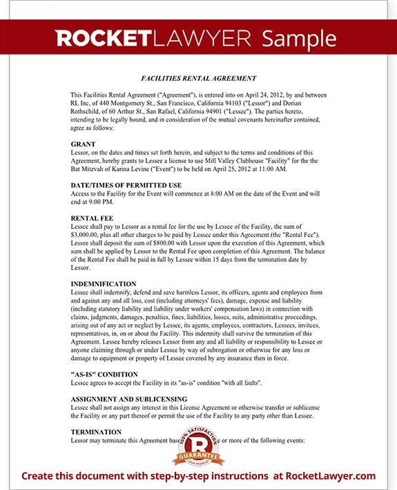 Event Rental Agreement Template - Facilities Rental Agreement