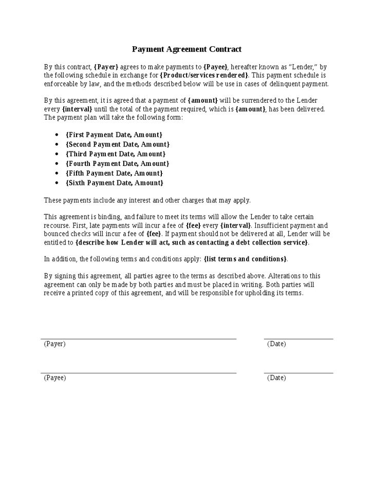 10 Best Images of Down Payment Agreement Template - Bill of Sale ...