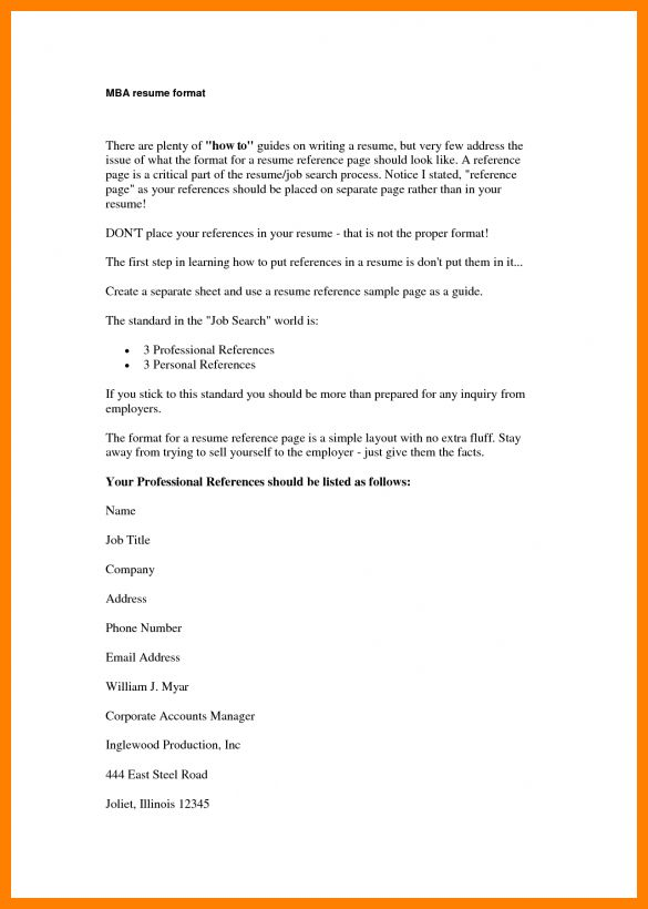 Resume References Format Template Reference Page Sample