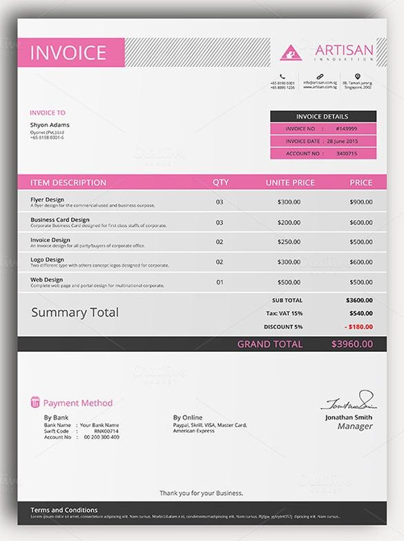 Invoice Template - 41+ Free Word, Excel, Pdf, Psd Format ...