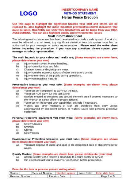 Heras Fencing Method Statement Example to Download