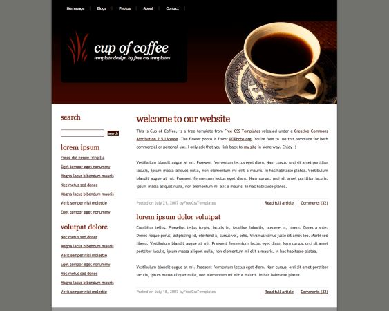 Free Website HTML/CSS Template: Cup of Coffee | Web Design ...