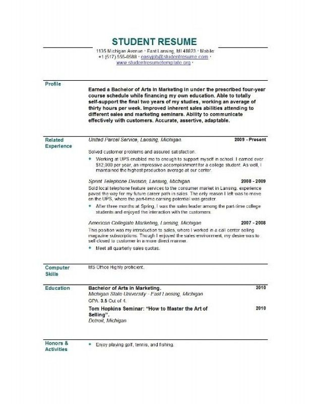 Example Of Student Resume – Resume Examples