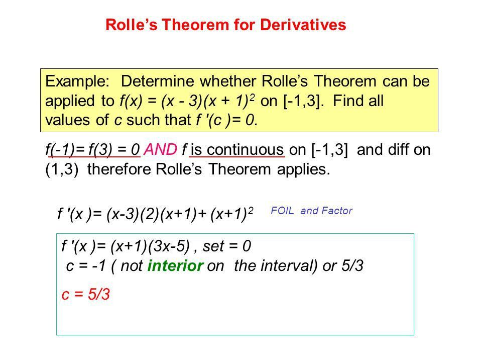 Calculus 1 Rolle's Theroem And the Mean Value Theorem for ...