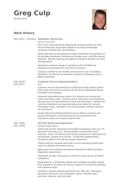 Sanitation Resume samples - VisualCV resume samples database
