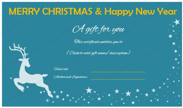 Christmas and New Year Gift Certificate (Reindeer Design)