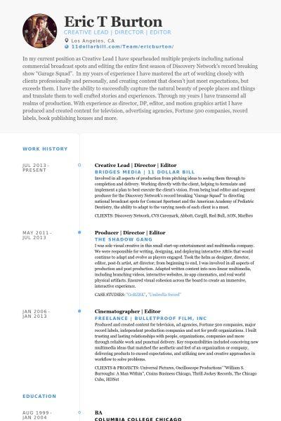 Editor Resume samples - VisualCV resume samples database