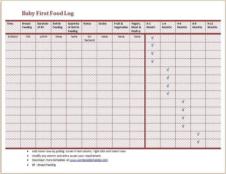 Baby's First Food Log Template MS Word | Word & Excel Templates