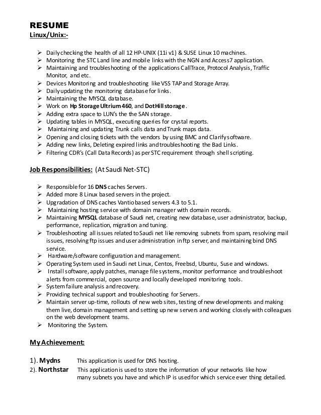 System Administrator CV