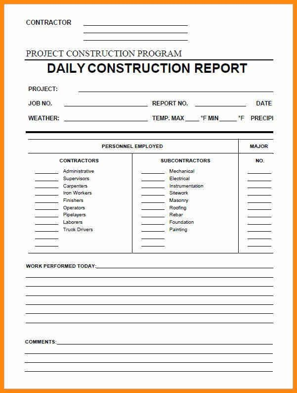 construction daily report template excel