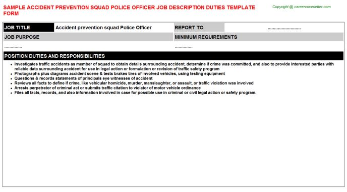 Accident Prevention Squad Police Officer Job Description