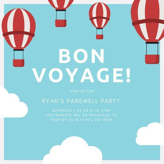 Light Blue And Red Hot Air Balloons Farewell Party Invitation ...