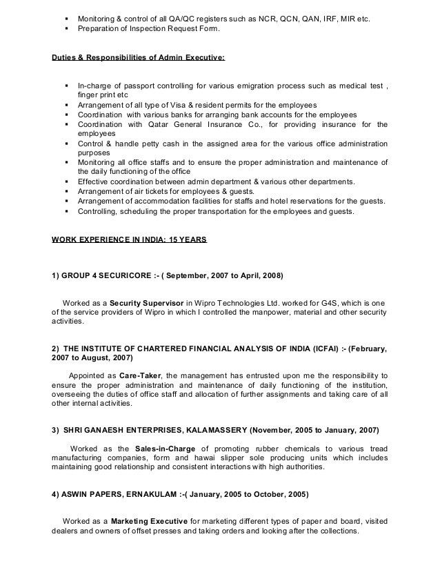 CV of QA-QC Senior Document Controller cum Admin Executive