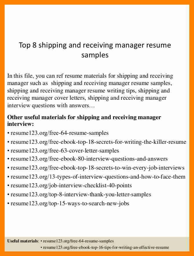Shipping Logistics Manager Resume - Contegri.com