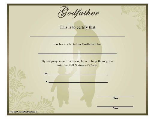 Free Printable Godparent Certificates | Printable Godmother ...