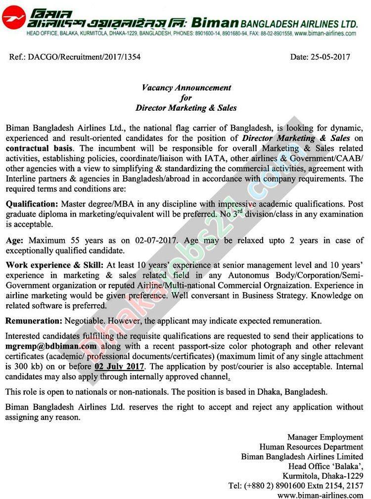 Biman Bangladesh Airlines Job Circular 2017 | Career Opportunity ...