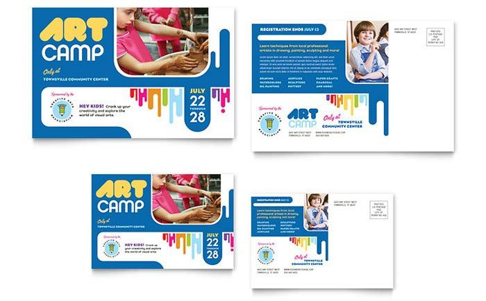 Kids Art Camp Postcard Template Design
