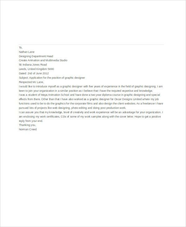7+ Job Application Letters For Graphic Designer - Free Word, PDF ...