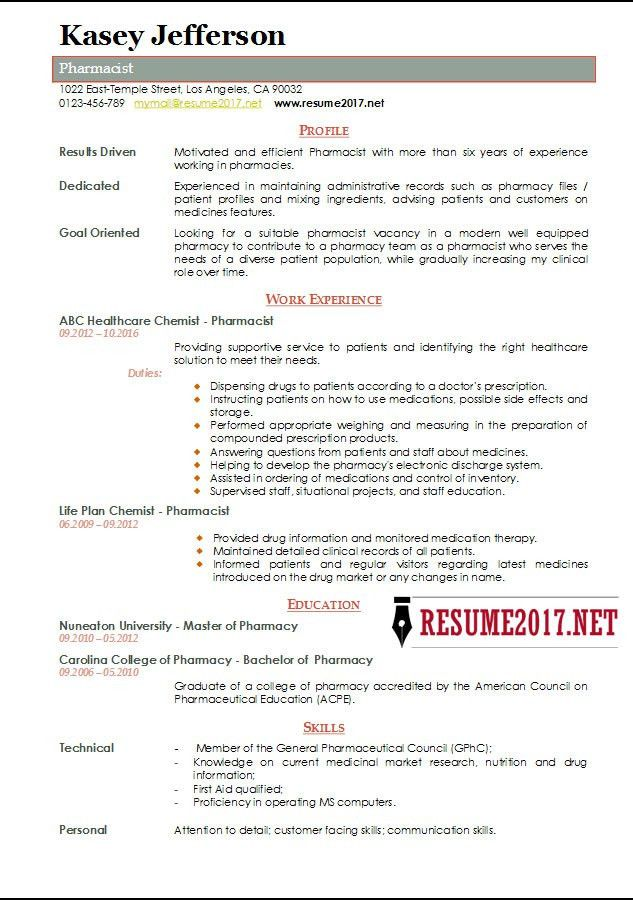 Pharmacist Resume 2017 Templates •