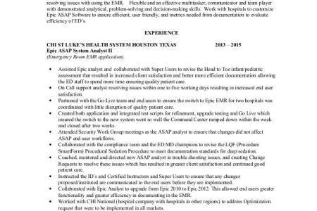 tracy wilsonsenior epic consultantsummary over seven years of epic. Resume Example. Resume CV Cover Letter