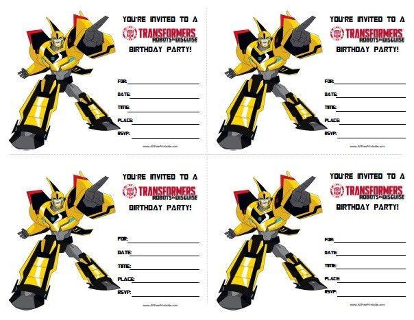 Transformers Birthday Invitations   All Free Printable   Pinterest ...