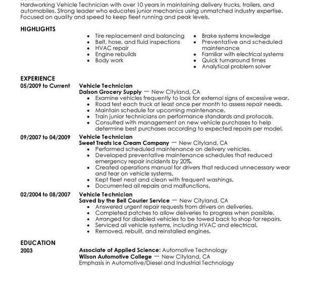 Sample Mechanic Resume | Enwurf.csat.co