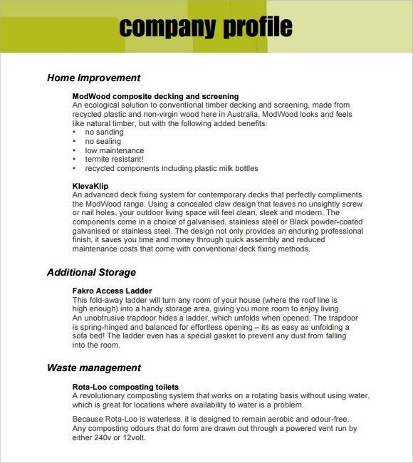 Free Company Profile Template Word - cv01.billybullock.us