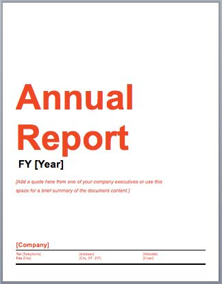 Annual Report Template – Microsoft Word Templates