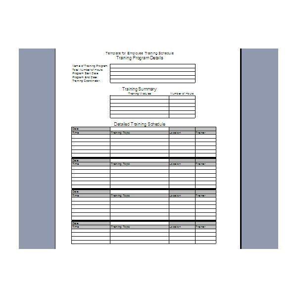 restaurant training schedule template