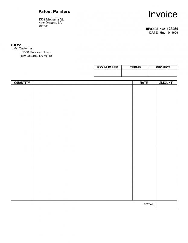 Invoice Blank Trade Agreement Template Forms Invoices To Print ...
