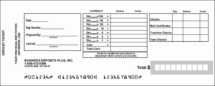 Bank Deposit Slips, Deposit Tickets - Retail Currency: Business ...