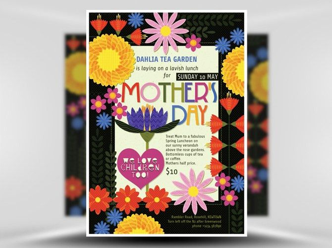 Illustrated Mother's Day Flyer Template - FlyerHeroes