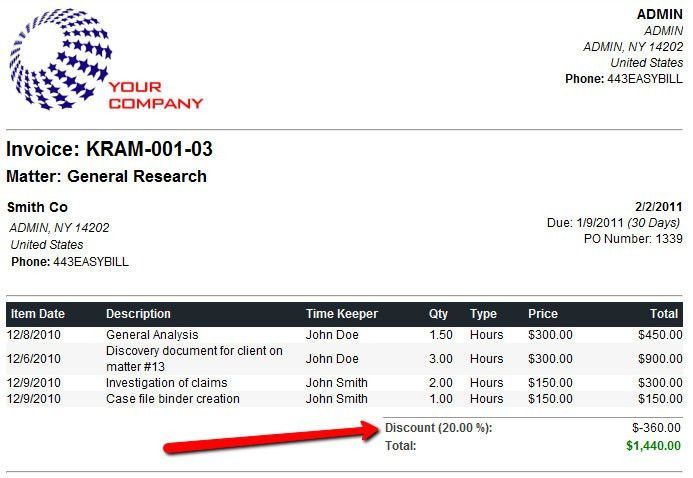 New Feature: Add Discounts to Legal Invoices | Easy Legal Billing Blog