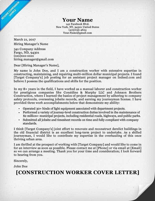 Construction Cover Letter Sample | Resume Companion